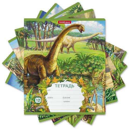 Купить ErichKrause Тетрадь Эра динозавров А5+ 170х203 мм 12 лна скрепке 60 г/кв.м линейка 48837 19 шт., Тетради