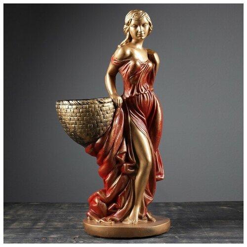 Фигура с кашпо Девушка с корзиной бронза цвет красный 64см фигура девушка сидя кашпо на плече бронза 58см 302969