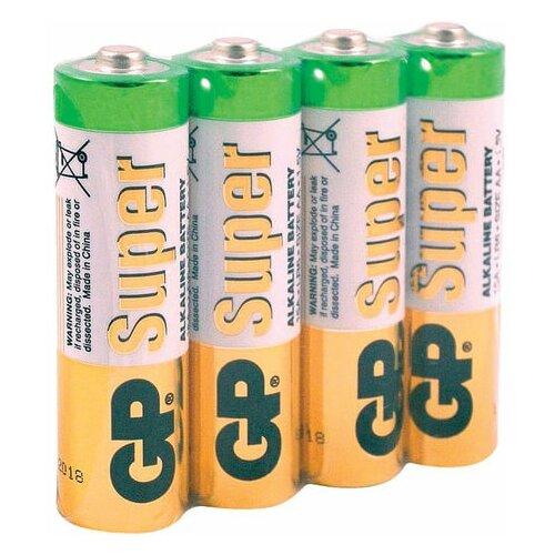 Фото - Батарейки комплект 4 шт., GP Super, AA (LR06, 15А), алкалиновые, пальчиковые, в пленке, 15ARS-2SB4 батарейки pkcell aa пальчиковые 12 шт уп