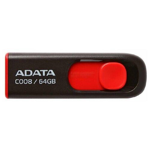 Флеш-накопитель USB 64GB A-Data C008 чёрный/красный