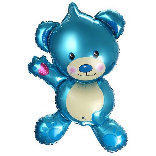 Шар с клапаном (14''/36 см) Мини-фигура, Плюшевый мишка, Голубой, 1 шт.