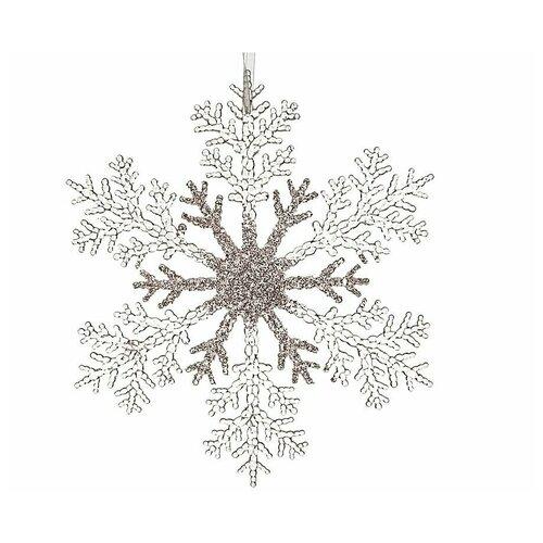 Снежинка хрупкая нежность, акрил, прозрачная с глиттером, 21 см, Kaemingk