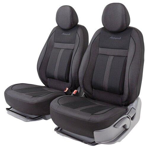 Получехлы на передние сиденья AUTOPROFI CUS-0405 BK/BK CUSHION COMFORT, эко-хлопок, 5 мм поролон, 3D крой, поясничный упор, 4 пред., чёрный