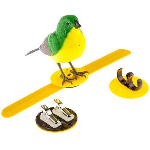 Птичка зеленая интерактивная / Птичка реагирует на движение, свист, прикосновение / Птичка свистит, щебечет , поворачивает голову