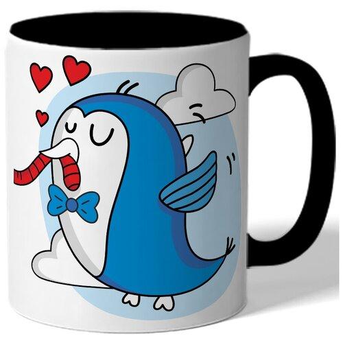 Кружка парная в подарок влюбленным - синяя птичка с бабочкой, сердца