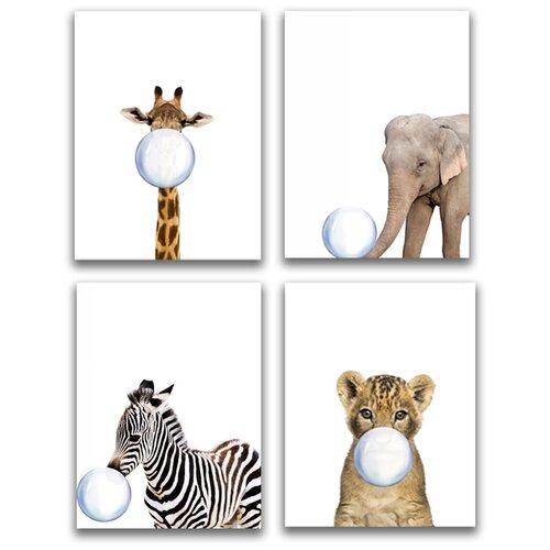 Коллекция из 4-х картин на холсте LOFTime 30х40 жираф слоненок зебра львенок С пузырем К-022-3040