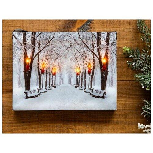 Светящееся настенное панно снег И фонари, малое, LED-огни, 20х15 см, батарейки, Peha Magic AP-10800