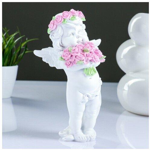 Фигура Ангел с розами, 13х9х22см 3865142 фигура малышка ангел белая 25х12х12см 4786376