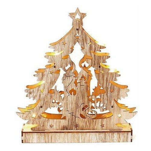 Новогодний светильник чудо-ёлка - свечи, дерево, желтые LED-огни, 24х21 см, батарейки, Sigro 52-1597-свечи