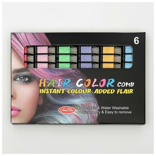 Купить Мелки для волос с насадкой, набор, 6 цветов, Сима-ленд, Пастель и мелки