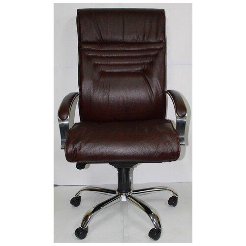 Кресло Вип Хром кожа бордовая (мультиблок)