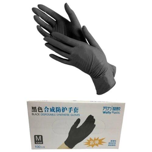 Фото - Перчатки нитриловые, черные, размер M, 100 шт / Перчатки одноразовые / Перчатки хозяйственные перчатки одноразовые нитриловые черные wally plastic размер m 100 шт 50 пар