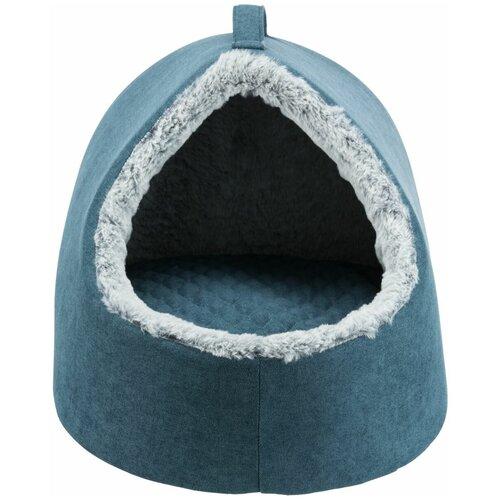 Лежак-пещера Tonio vital, 35 х 30 х 40 см, петроль/бело-серый, Trixie (товары для животных, 36506)