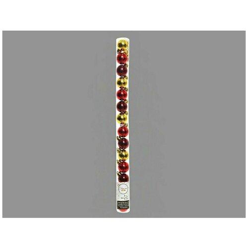 Фото - Набор пластиковых шаров миниатюрные (глянцевые), цвета: золотой, красный, бордовый, 3 см, упаковка 14 шт, Kaemingk набор пластиковых шаров new year mix красный бордовый 60 мм упаковка 12 шт kaemingk 023573