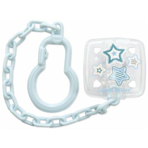 Купить Клипса-держатель для пустышек Canpol babies Newborn baby , 0+, цвет голубой (250930534), Пустышки и аксессуары