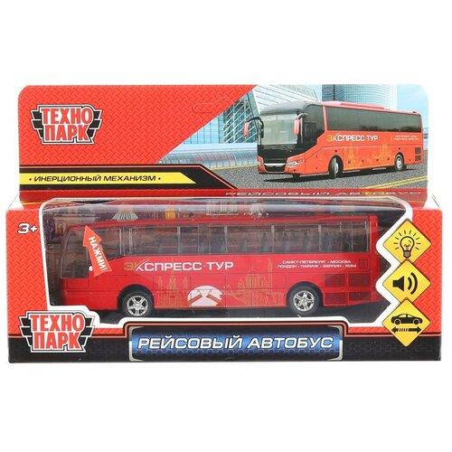 Фото - Модель машины Технопарк свет и звук, Рейсовый автобус, металл, длина 16 см, инерция (80136L-R) автобус технопарк рейсовый sb 16 88 blc 7 5 см желтый