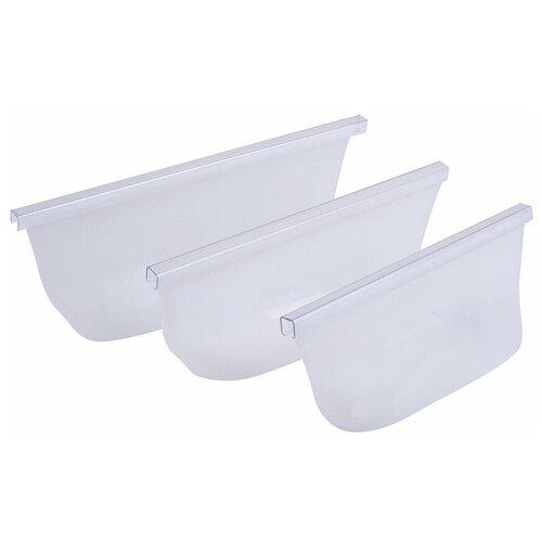 Zip контейнеры силиконовые для хранения продуктов питания EliZa home, цвет белый, WH90819