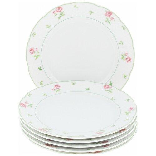 Набор десертных тарелок Menuet (декор Роза, зеленая отводка) 6 тарелок, 19 см недорого