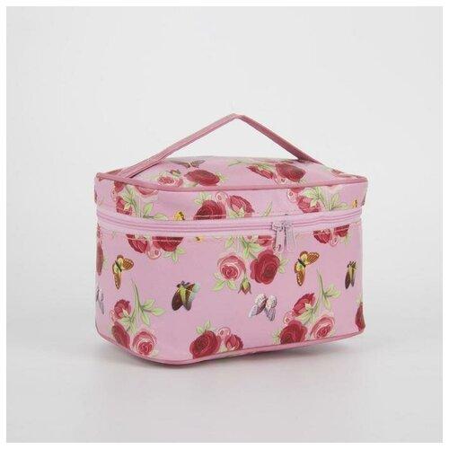 Косметичка-сундук Цветы, 19*11*11,5см, отдел на молнии с зеркалом, розовый 4320340