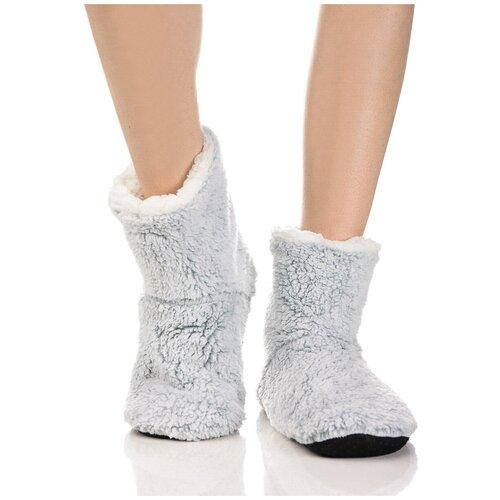 Плюшевые носки домашние, окраска меланж, противоскользящая подошва, внутренний подклад из искусственного меха, зеленый-белый цвет, размер 36-38