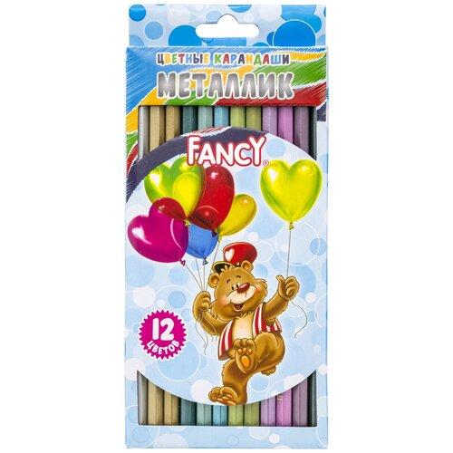 набор карандашей цветных трехгранных action dc comics 18 цв европодвес Набор карандашей цветных Металлик FANCY, 12 цв.