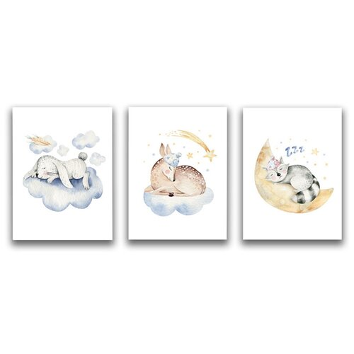 Коллекция из 3-х картин на холсте LOFTime 30х40 зайка олененок котенок сплюшки К-028-3040