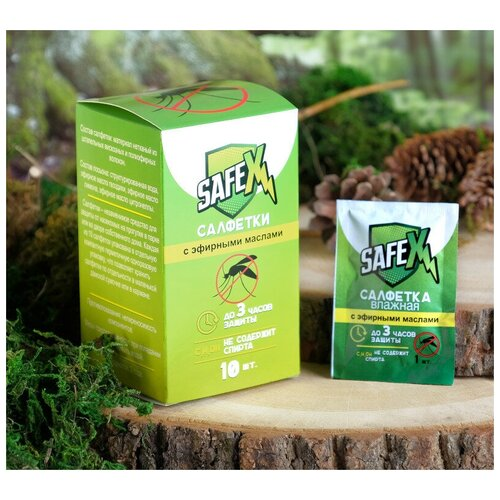 Средство защиты от комаров Safex Влажная салфетка 10шт 4239450