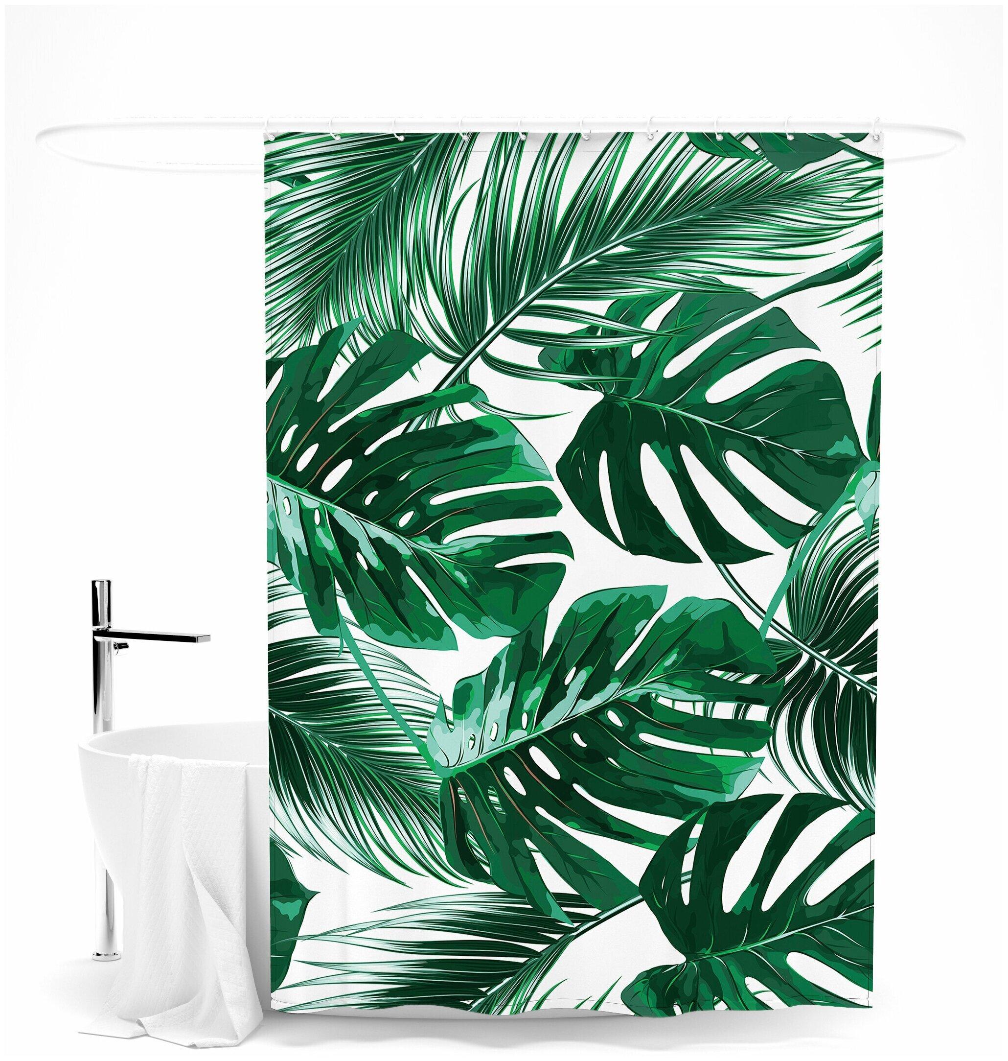 """Шторка для ванной """"Мексиканские листья"""" — купить по выгодной цене на Яндекс.Маркете"""