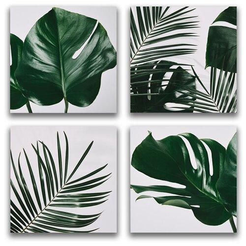 Комплект картин на холсте LOFTime 4 шт 30Х30 тропические растения 3 К-040-3030