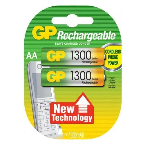 Фото - Аккумуляторы GP Rechargeable 1300 mAh NiMH AA 1.2V (2 шт) аккумуляторы gp 1000 мач в комплекте с зарядным устройством адаптером 1а и кабелем