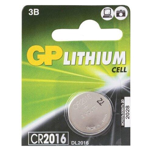 Фото - Батарейка GP Lithium, CR2016, литиевая, 1 шт., в блистере (отрывной блок), CR2016-7CR5, 5 шт. батарейка cr2016 литиевая varta cr2016 3v 1 шт