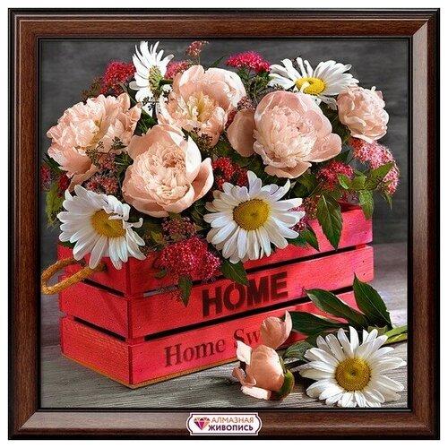 Купить Алмазная мозаика Букет домашнее тепло, картина стразами Алмазная живопись 40x40 см., Алмазная вышивка