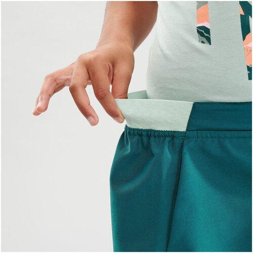 Купить Юбка–шорты для походов МН100 детская 7–15 лет, размер: 123-130 CM 7-8, цвет: Бирюзовый QUECHUA Х Декатлон, Decathlon, Юбки