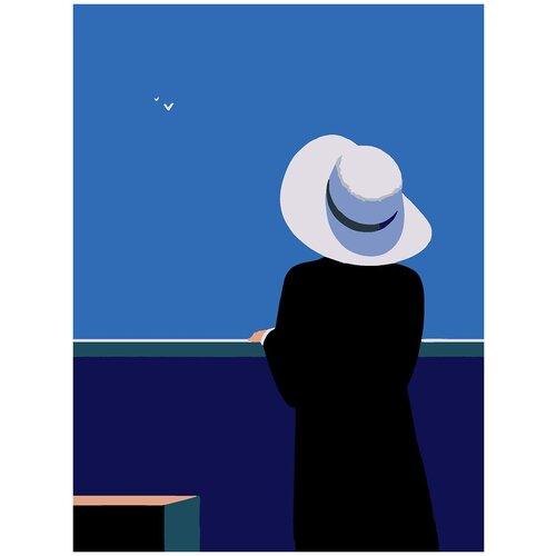 Купить Картина по номерам Минимализм - Девушка в шляпе, 80 х 100 см, Красиво Красим, Картины по номерам и контурам