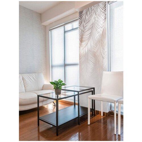 Фотообои Пальмовые листья в серо-коричневых тонах/ Красивые стильные обои на стену в интерьер комнаты/ 3Д расширяющие пространство/ На кухню в спальню детскую зал гостиную прихожую/ размер 100х270см/ Флизелиновые