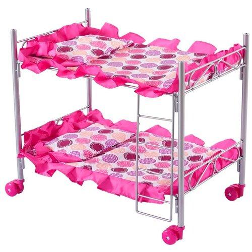 Buggy Boom Кроватка Loona двухъярусная (8887B) розовый с кружочками