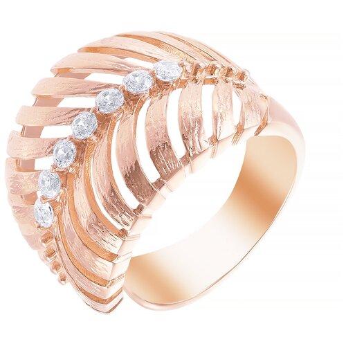 ELEMENT47 Широкое ювелирное кольцо из серебра 925 пробы с кубическим цирконием SR2547_KO_001_PINK, размер 17