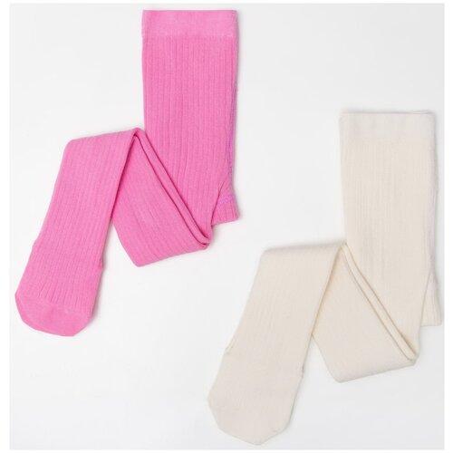 Купить Колготки Kaftan, комплект 2 шт., размер 104-110, белый/розовый