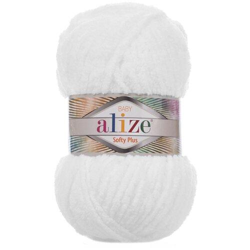 Купить Пряжа для вязания Ализе Softy Plus (100% микрополиэстер) 5х100г/120м цв.055 белый, Alize
