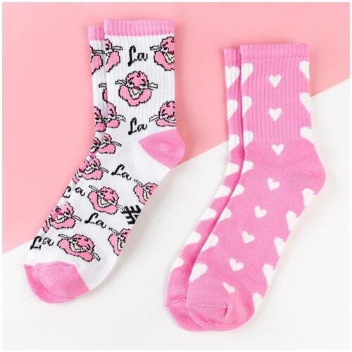 Носки Kaftan Лама 5301729, 2 пары, размер 23-25 см (37-39), белый/розовый