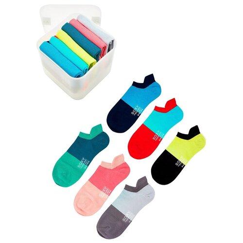 Женские короткие двух цветные носки Soxy / комплект 4 пары в пластиковом боксе