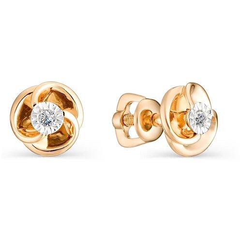 АЛЬКОР Серьги Цветы с 2 бриллиантами из красного золота 22372-100 алькор серьги цветы с 2 бриллиантами из красного золота 23613 100