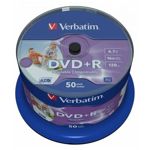 Диск DVD+R Verbatim 4.7Gb 16x Cake Box (50 штук), Printable (43512)