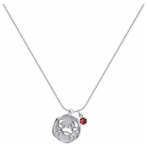 SOKOLOV Колье из серебра с кристаллом Swarovski 94070391, 40 см, 5.43 г