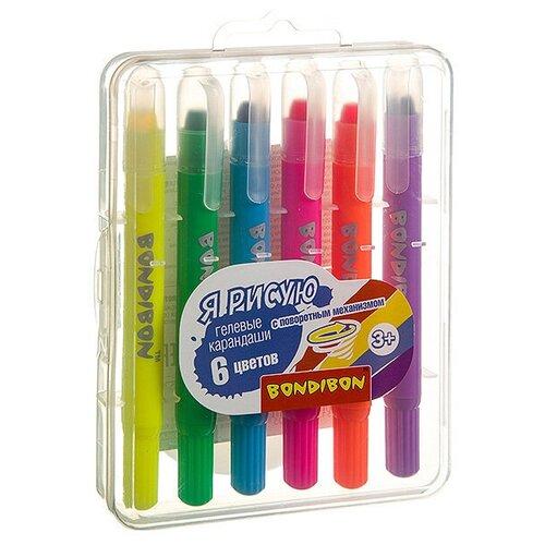 Купить Набор гелевых карандашей для рисования Bondibon 6 цветов, в пластиковой коробке, ВОХ, Пастель и мелки
