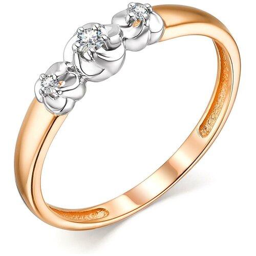 АЛЬКОР Кольцо Цветы с 3 бриллиантами из красного золота 13733-100, размер 18.5 алькор кольцо с 3 бриллиантами из красного золота 13552 100 размер 18