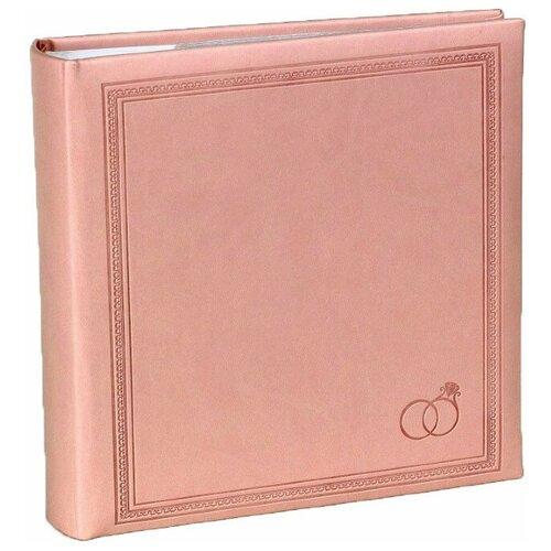 Фотоальбом свадебный «Свадебные кольца» на 200 фото 10х15 см, кармашки, розовый