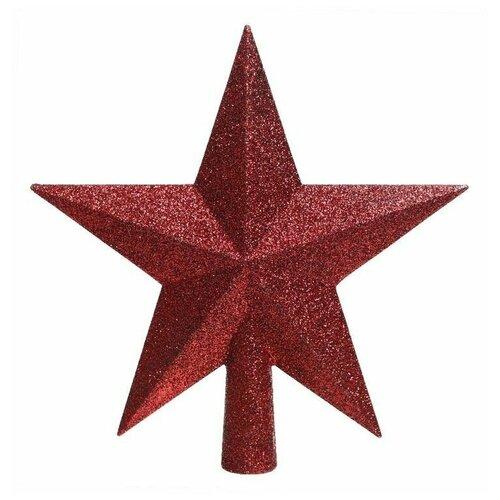 Елочная верхушка звезда делюкс, пластик, глиттер, бордовая, 19 см, Kaemingk