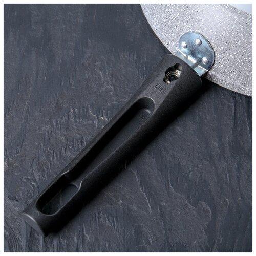 Сковорода Kukmara d 24 см, съемная ручка, антипригарное покрытие, светлый мрамор сковорода kukmara d 22 см съемная ручка антипригарное покрытие темный мрамор