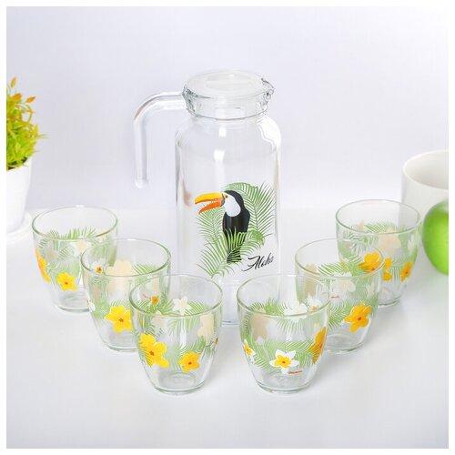 Фото - Набор питьевой Тукан Дангл, 7 предметов: кувшин 1 л, 6 стаканов 250 мл набор сервировочный 8 пр розы на белом поднос круглый кувшин 0 25 л рюмка 20 мл 6 шт 409293